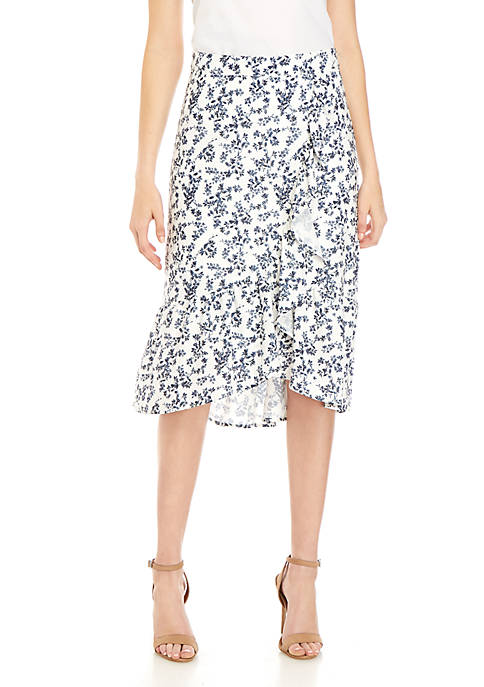 Printed Ruffle Wrap Skirt