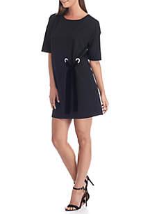 Velvet Side Tie Shift Dress