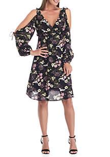 Cold Shoulder Tie Floral Dress