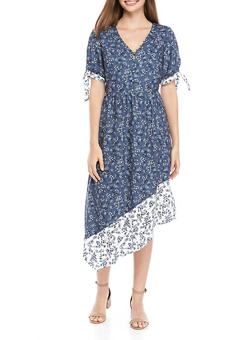 V Neck Asymmetric Floral Dress