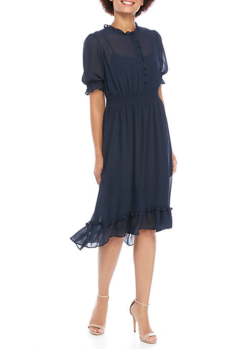 Mock Neck High Low Button Front Dress