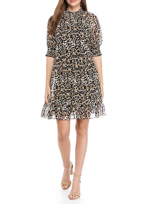 Printed Mock Neck Dress