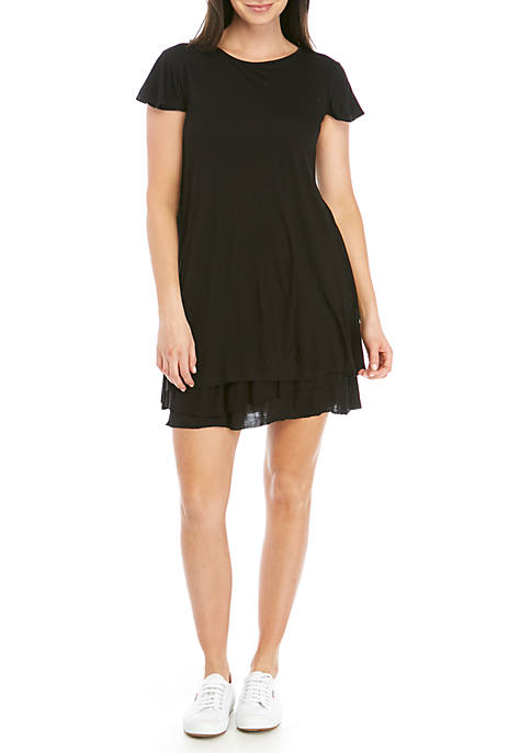 Short Sleeve Ruffle Knit Dress