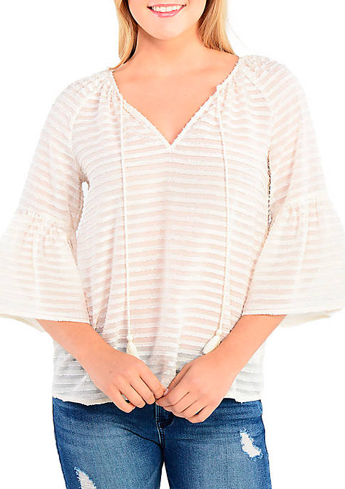 Kensie Textured Woven Peasant Top