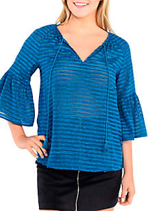 Textured Woven Peasant Top