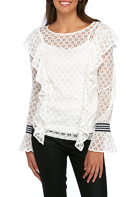 Kensie Ruffle Front Lace Blouse