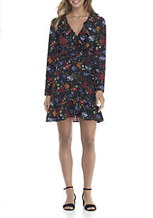 Floral V-Neck Tie Waist Dress