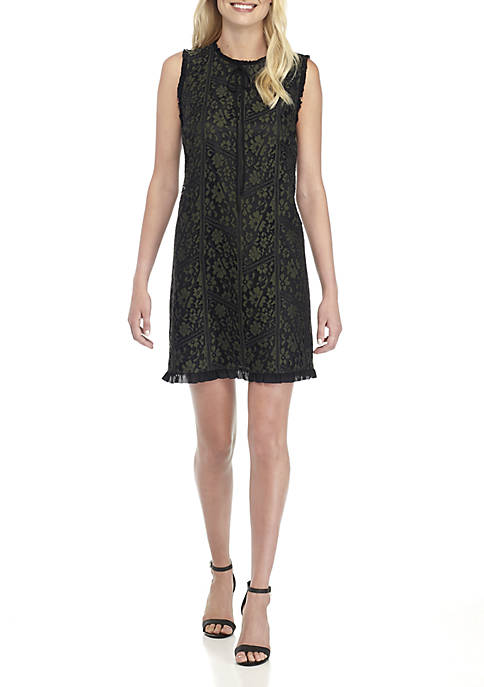 Kensie Tie Neck Lace Shift Dress
