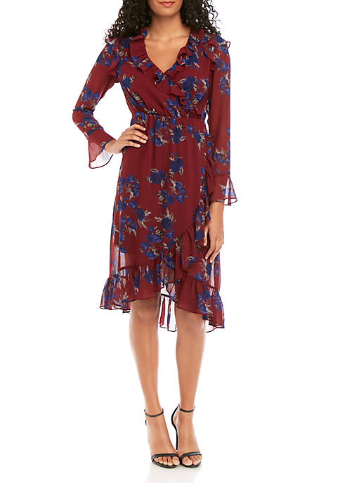 Kensie Floral Ruffle Long Sleeve Dress