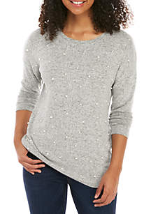 Long Sleeve Pearl Knit Top
