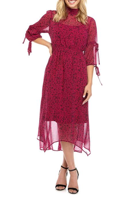 Kensie Womens Mock Neck Print Midi Dress