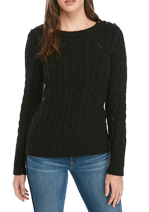 Kensie Cable Knit Sweater with Buttons