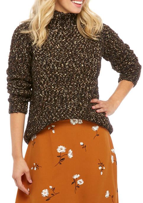 Kensie Womens Slub Boucle High Neck Sweater