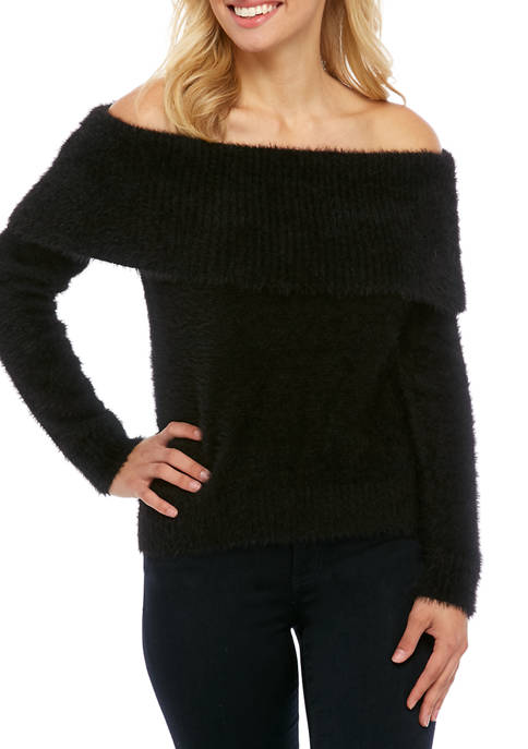 Kensie Womens Off The Shoulder Fuzzy Sweater