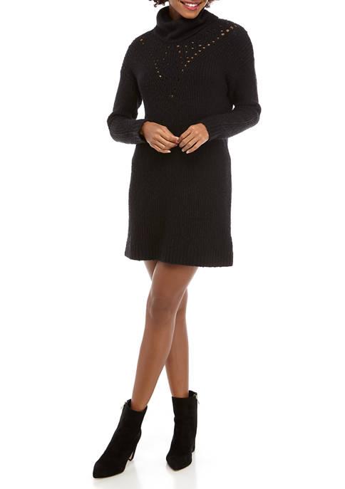 Kensie Womens Variegated Cotton Blend Sweater Dress