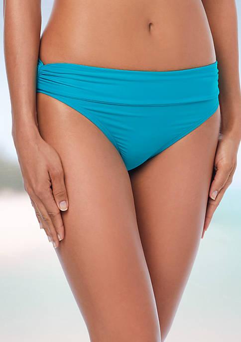 Side Shirred Bikini Swim Bottoms