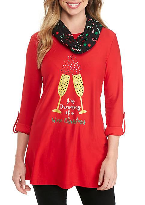Merry Wear 3 4 Sleeve Christmas Wine 2fer Belk