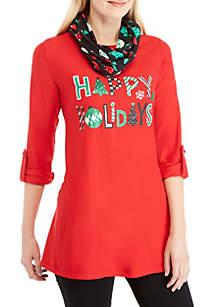 3/4 Roll-Tab Sleeve Happy Holidays 2Fer Top