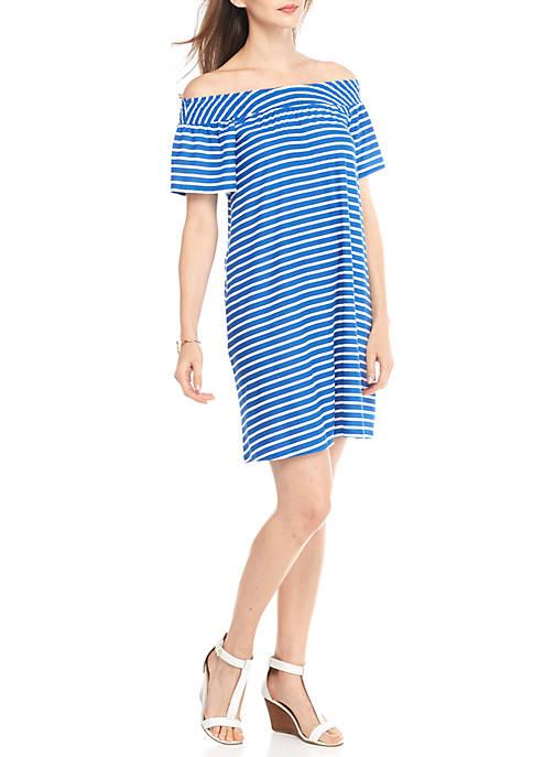 New Directions® Stripe Smocked Off Shoulder Dress