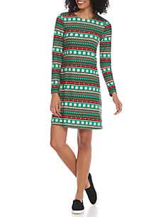 Long Sleeve Holiday Snowflake Dress