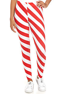 Red and White Striped Yummy Leggings