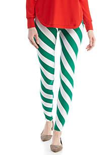 Green and White Stripe Yummy Leggings