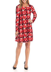Long Sleeve Plaid Snowflake Dress