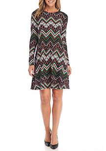 Long Sleeve Chevron Pattern Candy Cane Dress