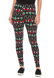 Candy Cane and Trees Brushed Yummy Leggings