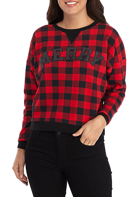 Joyland Long Sleeve Plaid Merry Cropped Sweatshirt