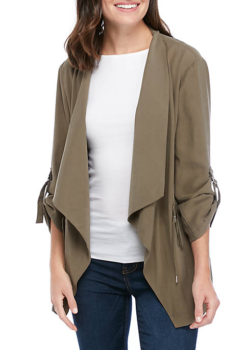 Womens 3/4 Sleeve Drape Front Jacket