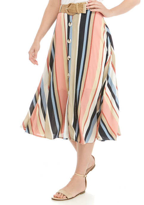Womens Stripe Button Front Belted Skirt