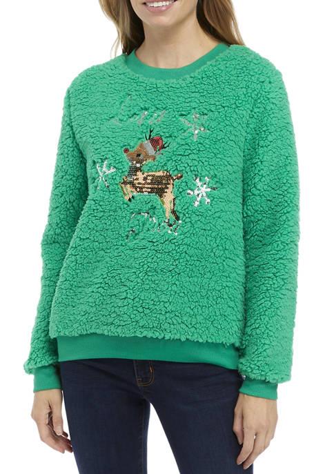 Joyland Womens Sherpa Cropped Merry Kissmas Sweater