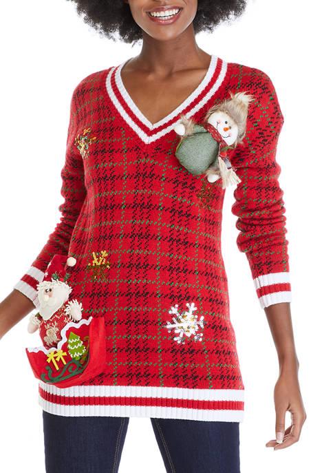 Joyland Houndstooth Plaid V-Neck Sweater