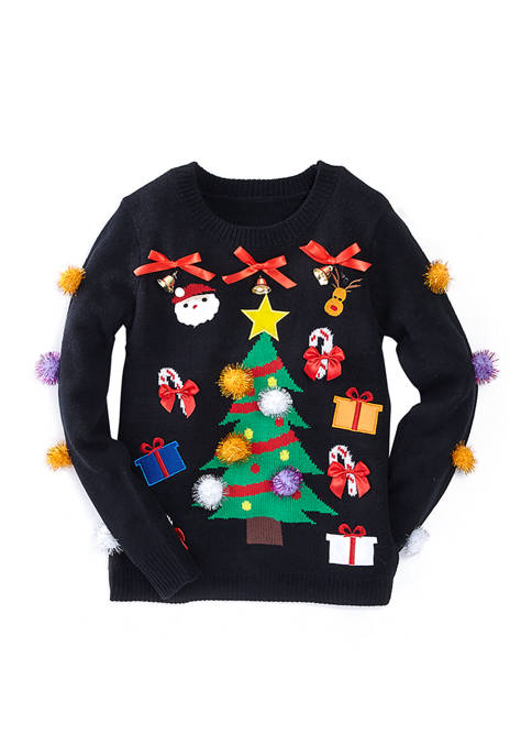Womens Christmas Tree with Ornaments Sweater