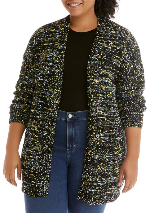 Plus Size Shawl Collar Marled Cardigan