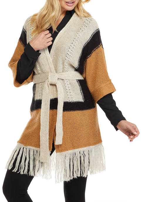New Directions Women's Elbow Sleeve Border Print Fringe Cardigan