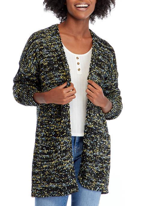 Womens Shawl Collar Marled Yarn Cardigan