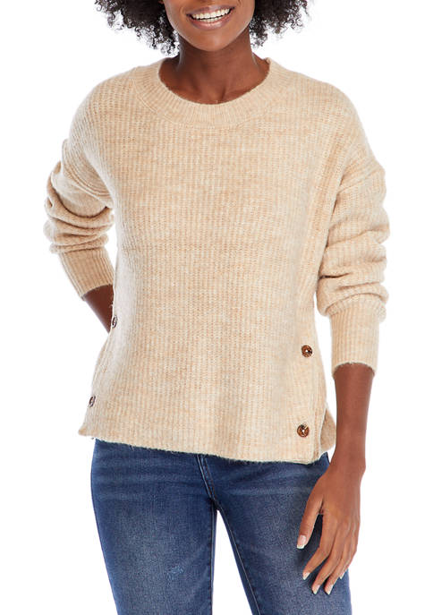 Womens Long Sleeve Honeycomb Stitch Sweater