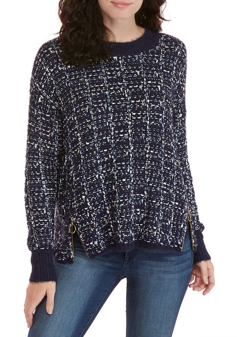 New Directions® Womens Long Sleeve Tweed Sweater