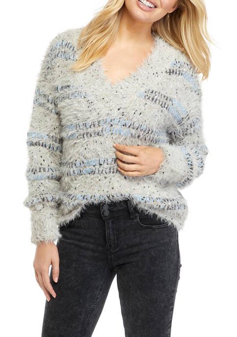 Womens Drop Shoulder V-Neck Eyelash Sweater