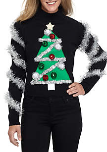 Long Sleeve Crop Christmas Tree Sweater With Tencel® Sleeves