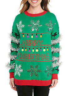 Long Sleeve Merry Christmas Light Up Sweater With Tinsel Sleeves