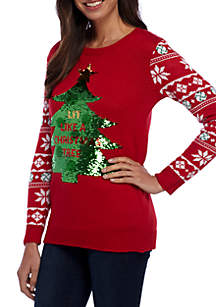 Long Contrast Sleeve 2-Way Sequin Pullover