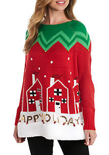 Happy Holidays Poncho Sweater With Sherpa Trim