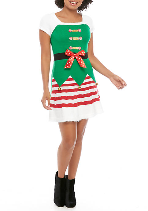 Womens Short Sleeve Christmas Square Neck Skater Dress