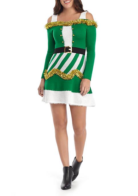 Joyland Long Cold Shoulder Sleeve Santa Skater Dress