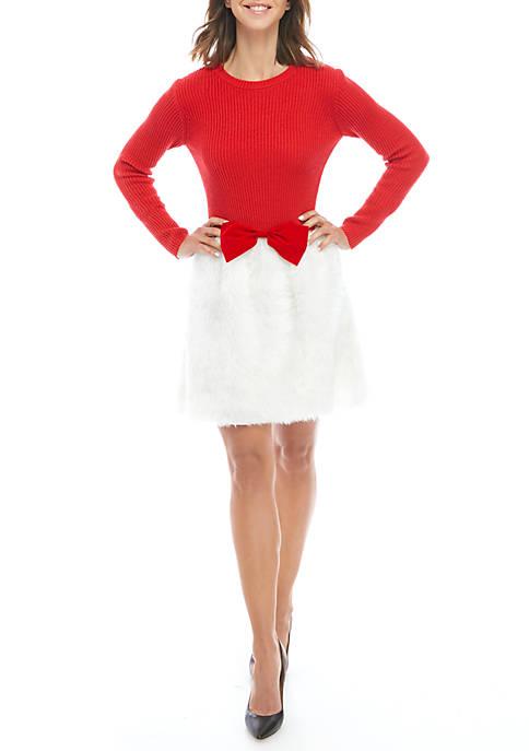 Long Sleeve Christmas Light Up Faux Fur Dress