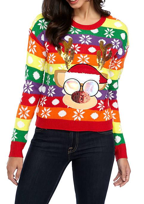 Joyland Long Sleeve Christmas Colorful Reindeer Sweater