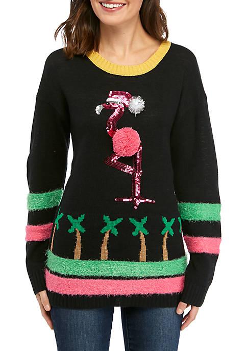 Womens Long Sleeve Flamingo Sweater